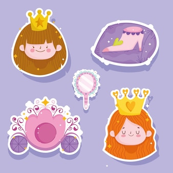 Prinzessin geschichte kleine mädchen gesicht krone schuh und wagen cartoon