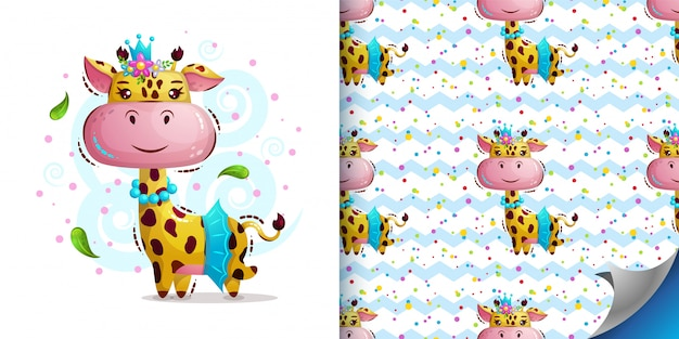 Prinzessin giraffe in kronenmuster und illustration
