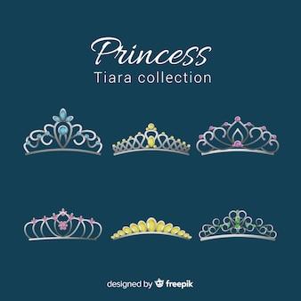 Prinzessin goldene und silberne tiara-packung