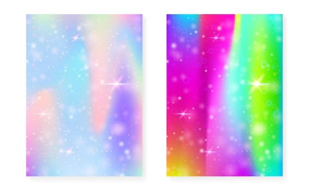 Prinzessin hintergrund mit kawaii regenbogensteigung. magisches einhorn-hologramm. holographisches fee-set. fluoreszierendes fantasy-cover. prinzessinnenhintergrund mit funkeln und sternen für nette mädchenpartyeinladung.