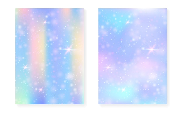 Prinzessin hintergrund mit kawaii regenbogensteigung. magisches einhorn-hologramm. holographisches fee-set. spektrum fantasy-cover. prinzessinnenhintergrund mit funkeln und sternen für nette mädchenpartyeinladung.