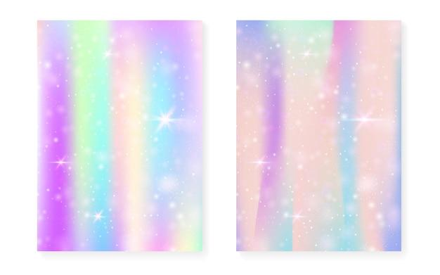 Prinzessin hintergrund mit kawaii regenbogensteigung. magisches einhorn-hologramm. holographisches fee-set. trendiges fantasy-cover. prinzessinnenhintergrund mit funkeln und sternen für nette mädchenpartyeinladung.