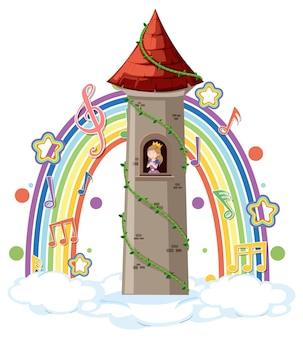 Prinzessin im turm mit melodiesymbol auf regenbogen
