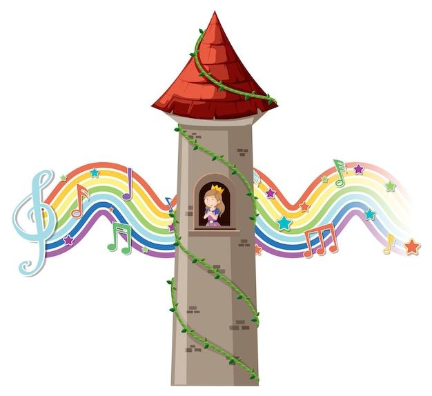 Prinzessin im turm mit melodiesymbol auf regenbogenwelle