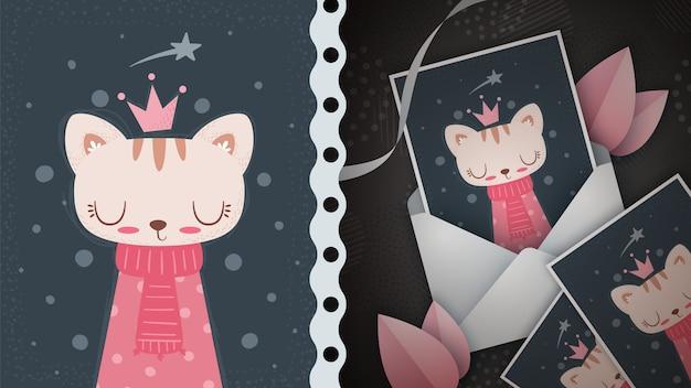 Prinzessin katze - idee für grußkarte