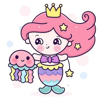 Prinzessin meerjungfrau kinderkarikatur mit einem quallen-kawaii-tier