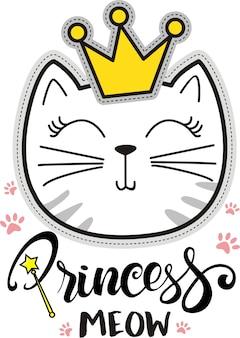 Prinzessin miauen, nette katzenillustrationsvektor für kinder, t-shirt und kleider