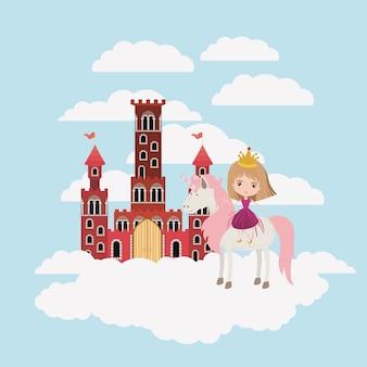 Prinzessin mit einhorn in den wolken und im schloss