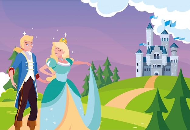 Prinzessin und prinz mit schlossmärchen in der landschaft