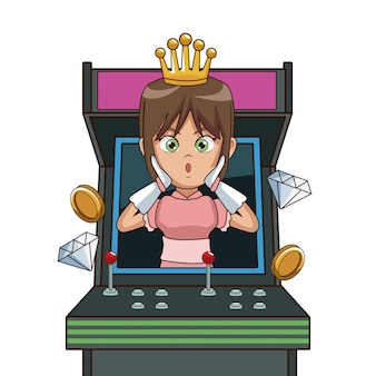 Prinzessin videospiel charakter cartoon auf arcade