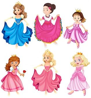 Prinzessinnen und königinnen in kleidern