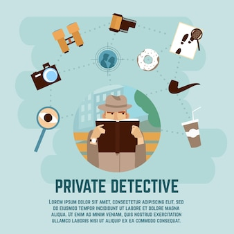 Privatdetektiv-konzept