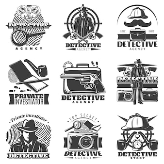 Private investigator logo set