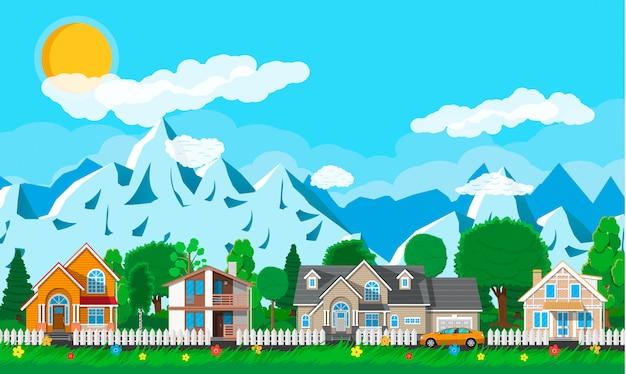 Private vorstadthäuser mit auto