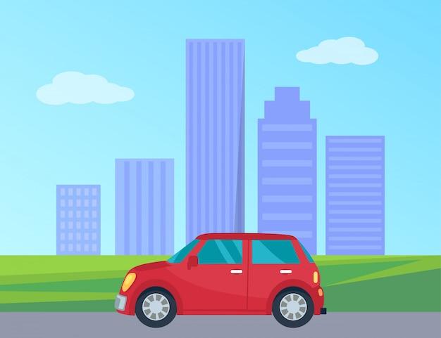 Privates automobil in der stadt-vektor-illustration