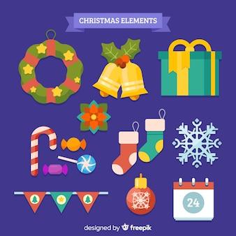 Probe von weihnachtselementen im flachen design