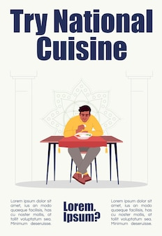 Probieren sie die plakatvorlage für die nationale küche aus. traditionelles orientalisches essen kommerzielles flyerdesign mit halbflacher illustration. vektor-cartoon-promo-karte. einladung zur werbung für indische restaurants