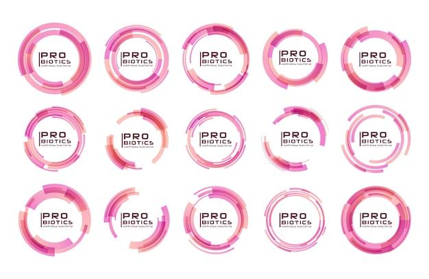 Probiotika bakterien logo. präbiotikum, lactobacillus. medizinisch