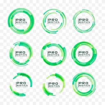 Probiotika bakterien logo. präbiotikum, lactobacillus. nahtloses muster der medizinischen symbole.