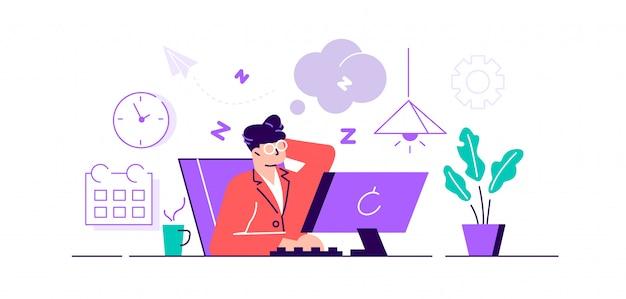 Problem mit der arbeitseinstellung bei erschöpfter und müder arbeit. mitarbeiter mit schläfriger stimmung mit neutralem gesichtsausdruck und gesichtsgefühlen.