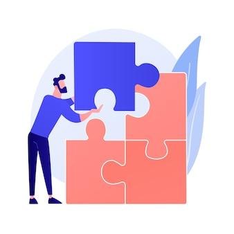 Probleme lösen. kreative entscheidung, schwierige aufgabe, querdenken. mann, der puzzle-zeichentrickfigur zusammenstellt. richtige wahl, fehlender artikel.