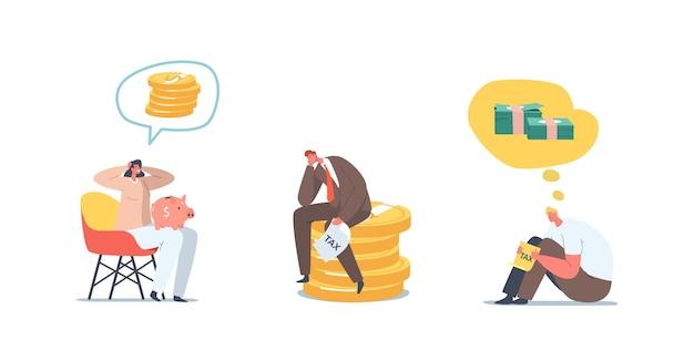 Probleme mit geld einstellen. umgekippter geschäftsmann und geschäftsfrau ohne geld, bankrott. frustrierte, enttäuschte charaktere mit leerem sparschwein, finanzkrise. cartoon-menschen-vektor-illustration