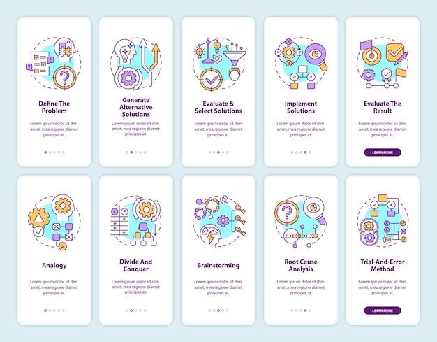 Problemlösung beim onboarding des bildschirms der mobilen app-seite mit festgelegten konzepten