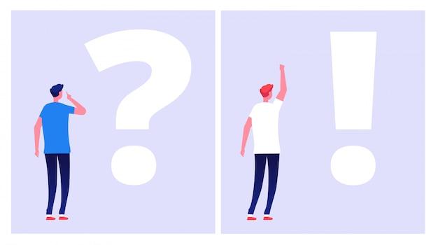 Problemlösungskonzept. unruhiger mann student denken mit fragezeichen dilemma verstehen lösung geschäftsprobleme zweifel