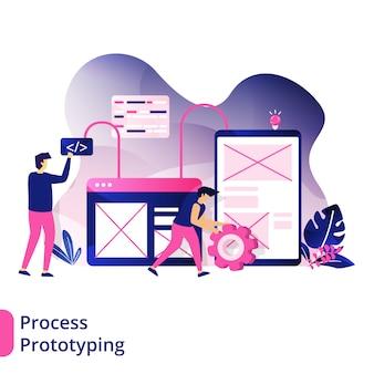 Process prototyping, das konzept von menschen, entwickelt prototypen für die erstellung von websites
