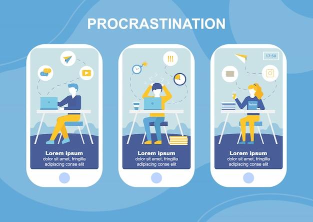Procrastination mobile text landing page flat set