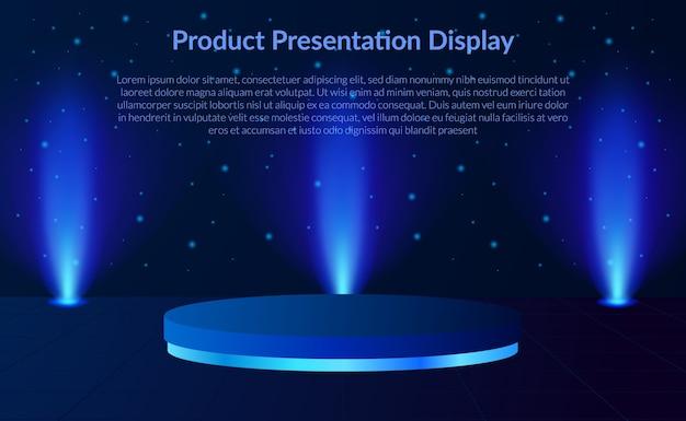 Produktanzeige der 3d zylinderpodestbühne mit neonlicht-spotlampe im hintergrund