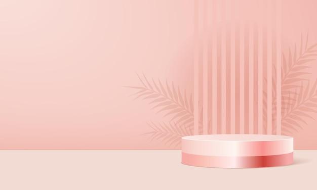 Produktanzeigeständer in rosa pastell mit schattenblättern.