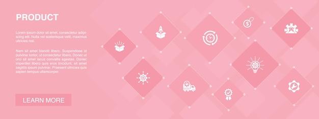 Produktbanner 10 icons concept.price, qualität, lieferung, entwicklung einfache icons