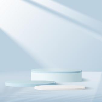 Produkte zeigen 3d-hintergrundpodiumsszene mit geometrischer plattform der blauen form an. vektor-illustration.