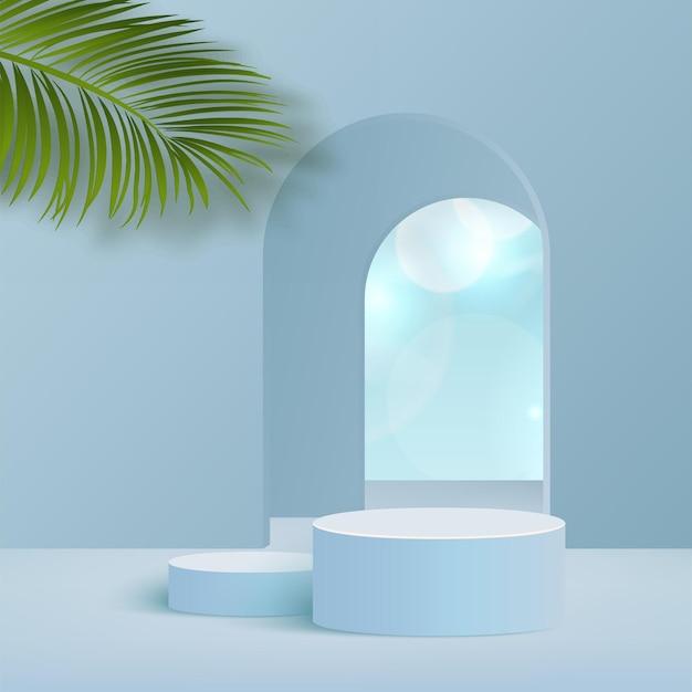 Produkte zeigen 3d-hintergrundpodiumsszene mit wolkenhimmel und geometrischer plattform der blauen form an. vektor-illustration.