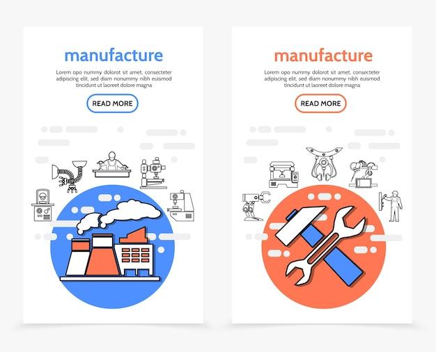 Produktion vertikale banner mit fabrikschlüssel hammer industrieanlagen maschinenbauingenieur