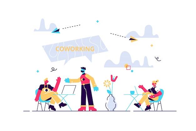 Produktive zusammenarbeit, arbeitsorganisation, freiberuflich und outsourcing. coworking von freiberuflern, teamwork und kommunikation, unabhängiges aktivitätskonzept. isolierte konzept kreative illustration