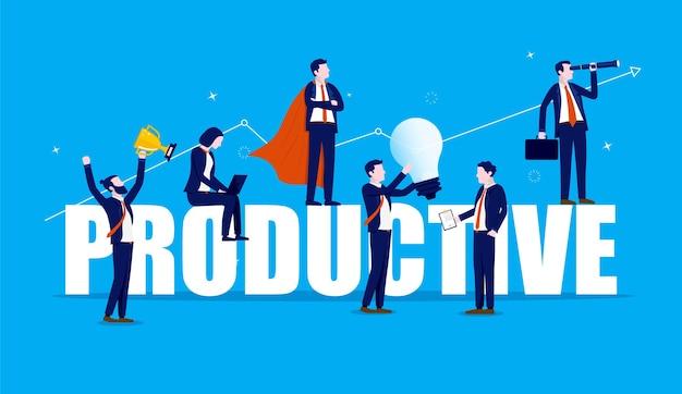 Produktives team von geschäftsleuten, die an und um große worte arbeiten
