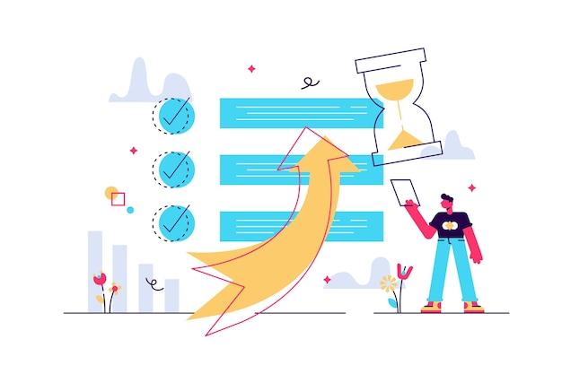 Produktivitätsmanagement mit to-do-liste und aufgabenstrategie winziges personenkonzept.