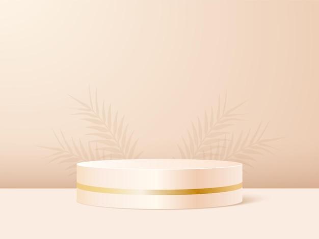 Produktpodest im beige pastellhintergrund mit schattenblättern.