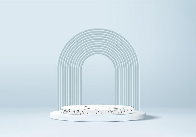 Produktpodest-szene des blauen hintergrunds 3d mit geometrischer marmorplattform