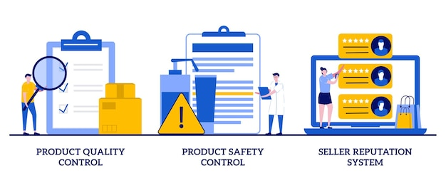 Produktqualitäts- und sicherheitskontrolle, verkäufer-reputationssystem-konzept mit winzigen leuten