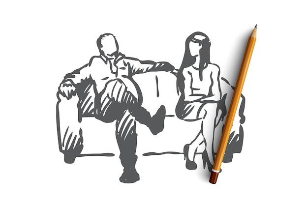 Produzent, film, schauspielerin, sexual-, belästigungskonzept. hand gezeichnete produzent bieten schauspielerin rolle im film, aber so tun als sex-konzept skizze.