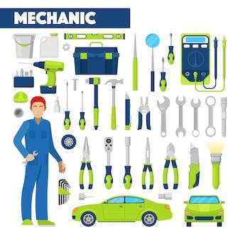 Profession auto mechanic icons set mit werkzeugen für autoreparaturen. illustration