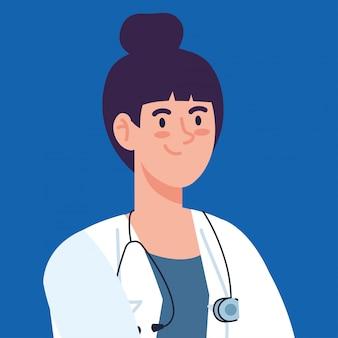 Professionelle ärztin mit stethoskop und schürze, ärztin, krankenhausarbeiterin vektor-illustration design
