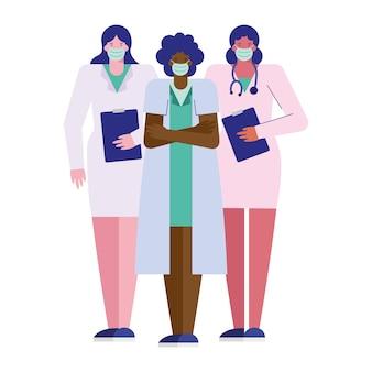Professionelle ärztinnen, die medizinische maskenillustration tragen
