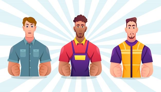 Professionelle arbeiter setzen, arbeitstagkarikaturillustration