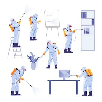 Professionelle auftragnehmer, die schädlingsbekämpfung im büro durchführen. coronavirus schutz. hazmat-team in schutzanzügen dekontamination während des virusausbruchs. karikaturillustration