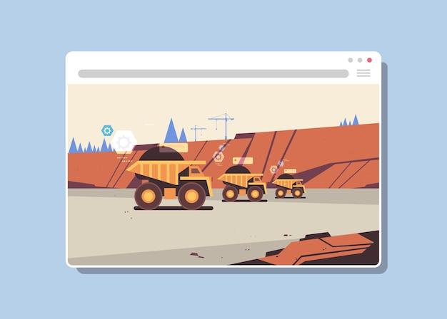Professionelle ausrüstung, die an der digitalen industrie der kohlengrubenproduktion im webbrowser-fenster arbeitet. steinbruch horizontal