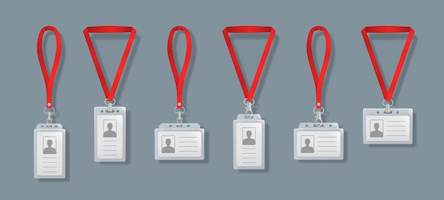 Professionelle ausweiskartenhalter mit schnürsenkeln. leeres plastikzugangsabzeichen, namensschildhalter mit nadelband. firmenkartenschlüssel, persönlicher sicherheitsausweis, vorlage für den presseveranstaltungspass.